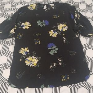 Mango Black Floral Shift Dress
